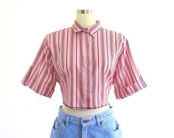 90s vintage pink and black striped button up tie back crop top blouse// small medium