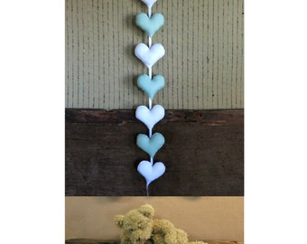Heart Garland, Custom Felt Banner, Heart Bunting, Kids Birthday Decor, Nursery Decor Wall Art
