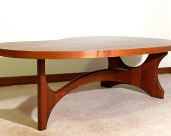 Kidney Shaped Walnut Coffee Table Mid Century Modern 4 1/2 Foot Cocktail Table Amoeba Biomorphic Organic Form