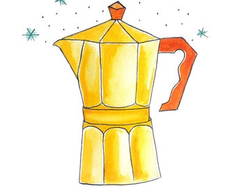 PRINT of Moka Pot Coffee Lover Illustration