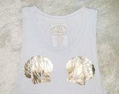 Mermaid Muscle Tank / White with Gold Foil Seashells / Original Artwork / Mermaid Top / Beach Top / Casual Tank / Women's Gift / Gift Idea