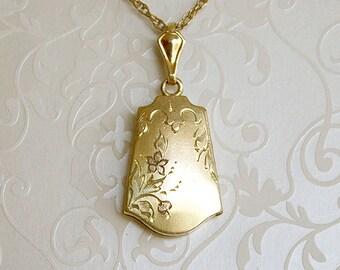 Gold-filled Locket Necklace, vintage unique shape locket, unusual shape locket, vintage bell shape locket, vintage wedding locket