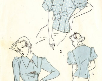 Advance 1419 Misses' Vintage 1930s Blouse with Sleeve and Collar Variations Sewing Pattern