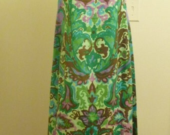"Green and Pink and Long in a Sundress from 1960, Polished Cotton, 31"" High Waist"