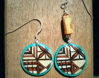 Tapa Cloth Inspired Earrings - Circle Tiki Earrings
