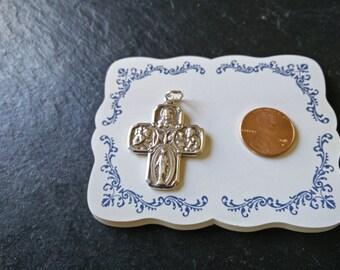 Large 4 way spirit dove scapular cross Saint medal pendant jewelry St Joseph vintage BLI sterling silver religious Halloween birthday gift