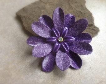Purple Flower Brooch Pin Medium Speckled Grape Purple Metal Flower Broach Purple Enamel Flower Brooch Bouquet Pin AB Rhinestone Center