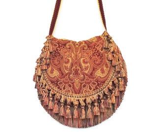 Hippie chic tasseled bag, Bohemian fringed shoulder bag, Crossbody overnight bag