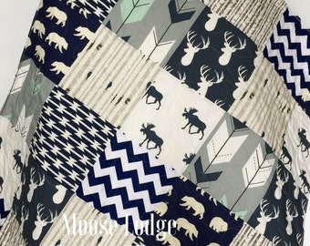 Baby Quilt, Boy Quilt, Moose, Arrow, Stag, Birch Forest, Woodland, Deer, Navy, Mint, Gray, Modern, Crib Bedding, Baby Bedding, Children