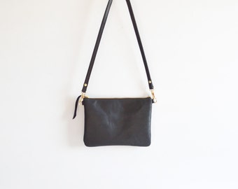 Leather crossbody bag  / Minimalist bag / Small leather bag / Leather purse / Simple leather bag  / Black leather