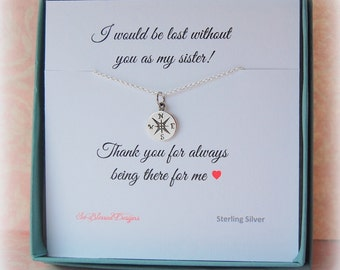 SISTER Necklace, Sister Jewelry, Gift for Sister with Card, Compass Necklace, Gifts for her, Gifts under 30 , sister in law gift