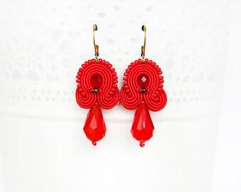 Red drop earrings, soutache jewelry, red crystal earrings, elegant red earrings, red jewelry, red embroidered earrings, handmade earrings