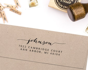 "Return Address Stamp, Housewarming Gift, Script Address Stamp, DIYer Gift, Wedding Gift. Custom Address Stamp 3"" x 1"""