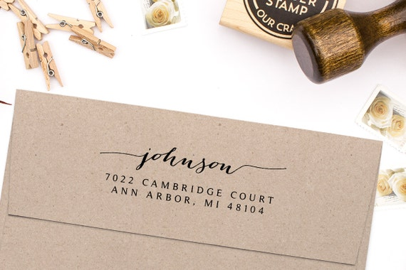 Return address stamp housewarming gift script address stamp - Best return gifts for housewarming ...