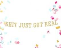 Shit Just Got Real Banner, Bachelorette Banner, Gold Glitter Banner, Bridal Shower Banner, Photo Prop, Wedding Banner, Birthday Banner