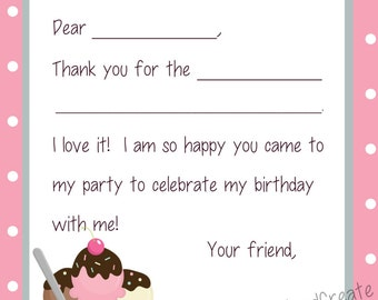 Kids Fill In the Blank Thank You Cards - Ice Cream Sundae Theme (Printed or Digital PDF File)