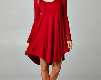 Long Sleeve Tunic Dress, Red Jersey Dress, Ivory Jersey Dress, Above Knee Dress, Red Tunic Dress, Ivory Tunic Dress,  Off White Tunic Dress