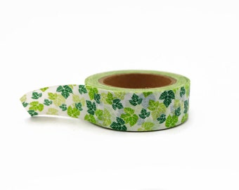 Green Washi Tape with Ivy Leaf Pattern - Green Leaves Masking Tape