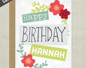 Custom Happy Birthday Greeting Card, custom birthday card, nickname