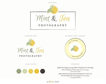 Watercolor Mini Logo Design Branding Kit Package - Lemon Mint Logo for Photographers, Modern Photography Logo, Fashion Blog Logo Design