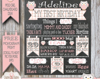 Owl First Birthday Chalkboard Sign, Owl Birthday Chalkboard Poster, Mod Owl Birthday Chalkboard Sign, Pink Owl Birthday Chalkboard Poster
