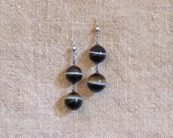 Victorian Scottish Agate Earrings - Antique Banded Agate and Sterling Earrings - c. 1850