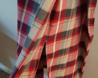 Long Vintage 80s Liz Claiborne Crazy Horse Plaid Wrap Skirt XL
