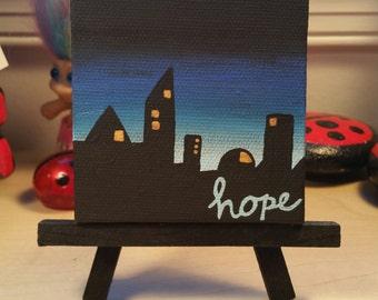 Hanukkah painting, sunset hope - mini canvas painting