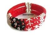 Holiday Discounts  3 strand bead crochet rope bracelet - Free shipping - Bead Crochet Bracelet - Beaded crochet Bracelet - SERMINCEJEWELRY