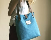 Blue - Canvas Leather Tote Bag