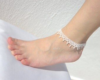 Wedding ANKLET-Seed Beaded & pearl Beach Wedding Anklets -Foot Jewelry