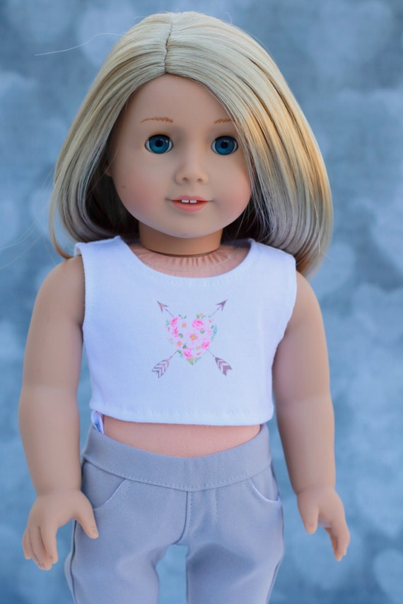 American Made Doll Clothes | Floral Heart with Arrows CROP TANK TOP for 18 inch doll such as American Girl Doll