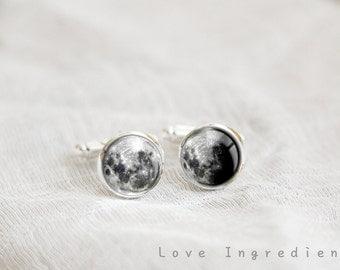 Moon phase cufflinks silver cufflinks personalized cufflinks gift for him wedding cufflinks groom cufflinks father cufflinks groomsmen CL027