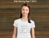 Coloring Book Page T-Shirt - Girls Mouse and Mushroom