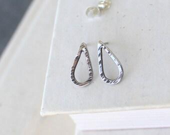Minimalist Sterling Silver Teardrop Post Earrings.