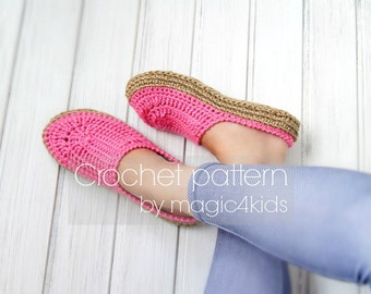 Crochet pattern- women clogs with rope soles,soles pattern included,all female sizes,slip ons,shoes,loafers,scuffs,slippers,adult sizes,cord