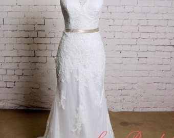 Sheath Style Wedding Dress with V-neck Classic Lace Bridal Gown with Chapel Train V-back Wedding Dress with Champagne Sash