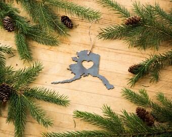 Love Alaska Christmas Ornament State Rustic Metal Ornament Recycled Steel Holiday Gift Industrial Decor Wedding Favor Ironmaidart