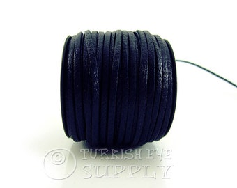 3mm Navy Flat Leather Strip Genuine Leather Strap 1 meter-3,28 foot Leather Cord, Wide Strap Lace Flat Leather Strapping, Leather Bracelet