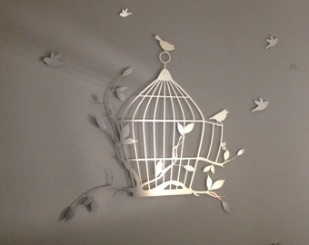 Birdcage And Flying Birds Metal Wall Art Metal Wall Decor Home Decor Metal
