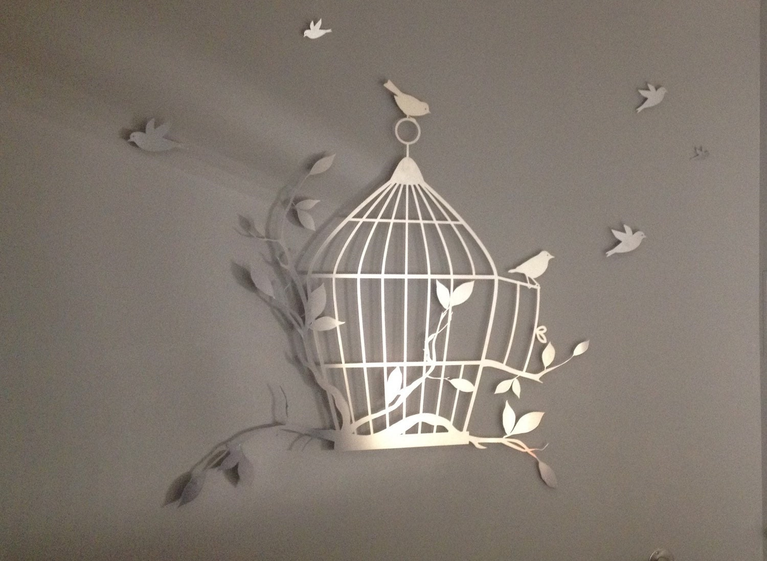 birdcage and flying birds metal wall art metal wall decor. Black Bedroom Furniture Sets. Home Design Ideas