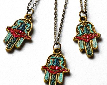 Colorful Hamsa Necklace Protection Amulet Hand Charm Boho Jewelry FREE SHIPPING