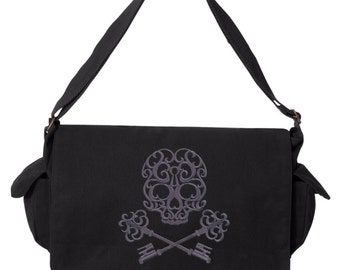 Baroque Passkey Skull Skeleton Key Embroidered Canvas Cotton Messenger Bag
