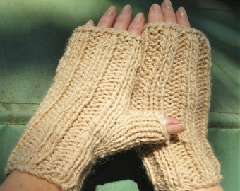 Fingerless Gloves Handknit Ladies' Bulky Tan Merino Wool & Mohair Fingerless Gloves Handwarmers Bulky Light Brown Wool Mohair Ladies' Gloves