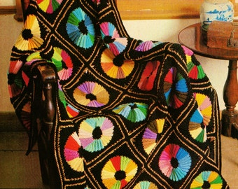 Color Wheels Granny Squares Afghan Crochet Pattern Download