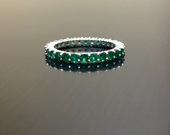 Art Deco Platinum Eternity Emerald Engagement Band - Platinum Emerald Wedding Band - Platinum Emerald Eternity Band - Emerald Platinum Band