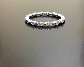 14K White Gold Eternity Diamond Engagement Band - 14K Gold Diamond Wedding Band - Diamond Stackable Ring - Eternity Band - 14K Diamond Ring