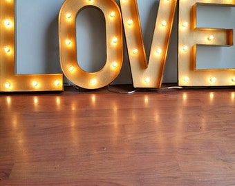"LOVE 16"" Light Up Gold Letters Marquee Sign"