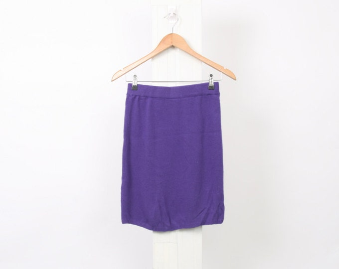 Purple 80s VINTAGE Minimalist Womens Size Au 8 US 4 S Small Lambswool Acrylic Wool Mini Stretch 90s Soft Tube Skirt