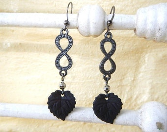 Black leaf earrings Infinity symbol Midnight jewelry Goth earrings Black Infinity earrings Mourning earrings Upcycled
